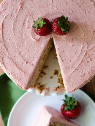 Fresh Strawberry Cake with Strawberry Buttercream: Soft and fluffy strawberry cake made with fresh strawberries and topped with a creamy strawberry buttercream.