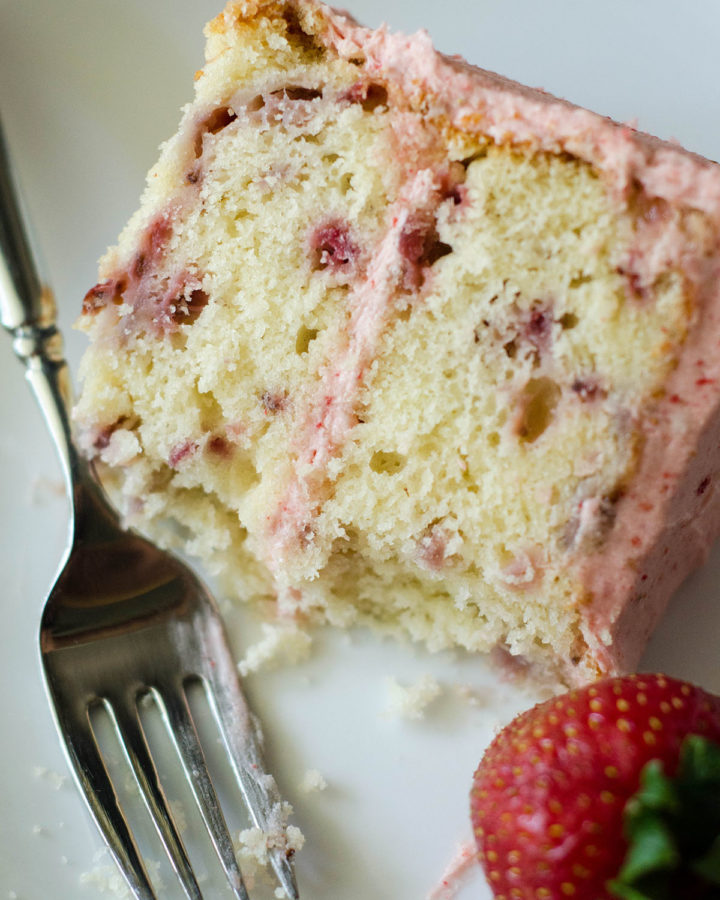 Fresh Strawberry Cake with Strawberry Buttercream: Soft and fluffy cake made with fresh strawberries and topped with a cream strawberry buttercream.