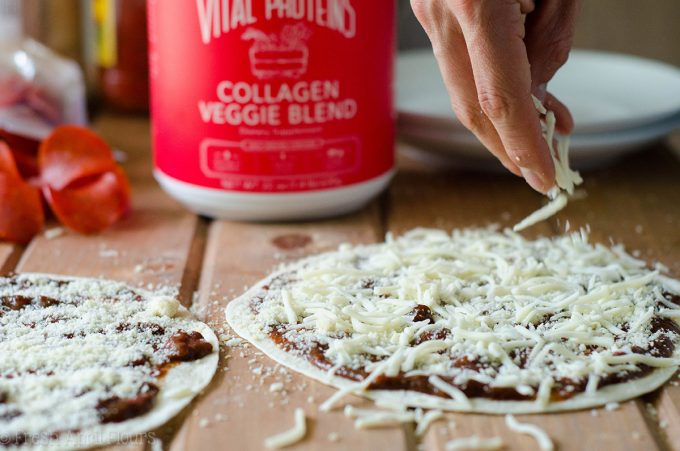 "5 Minute Personal Tortilla Pizza: An easy way to whip up a personal size pizza without rolling any dough! Perfect for a ""pizza bar"" for entertaining or customization for family meals."