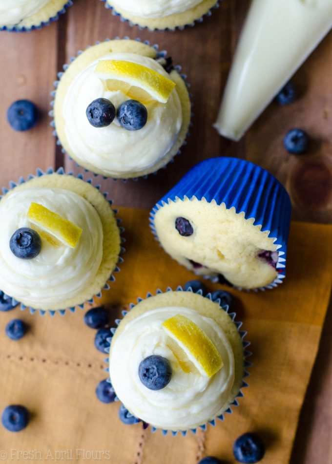Blueberry Lemon Cupcakes with Lemon Buttercream: Tangy lemon cupcakes bursting with sweet and juicy blueberries, topped with a creamy lemon buttercream.