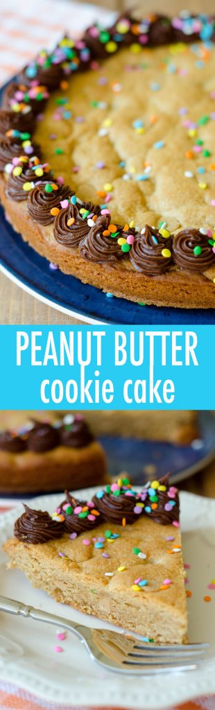 Peanut Butter Cookie Cake: A peanut buttery twist on the classic cookie cake. Top with chocolate, peanut butter, or vanilla frosting and get to decorating!