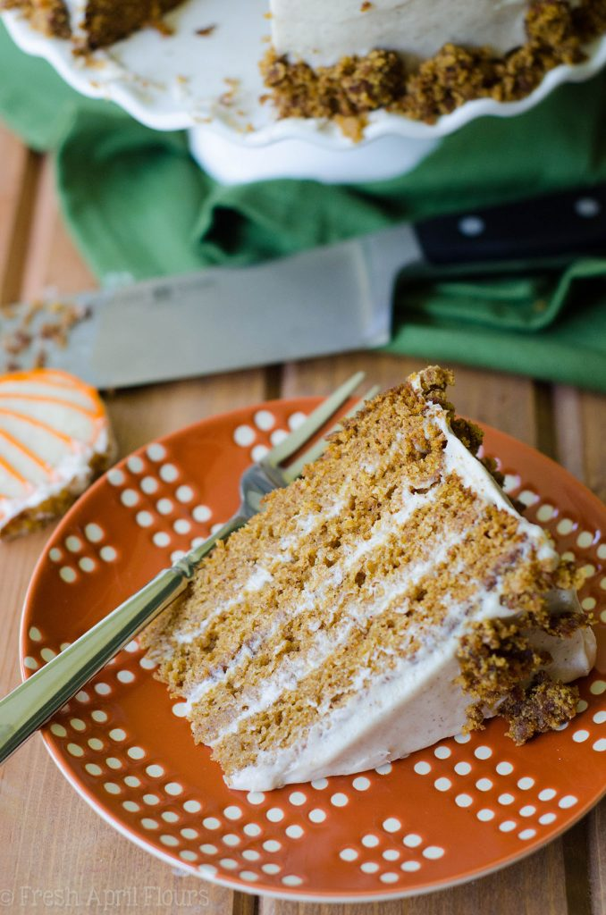Brown Butter Pumpkin Cake with Maple Cinnamon Cream Cheese Frosting: A moist, spiced cake made with real pumpkin and smothered in a creamy, fall flavor-infused cream cheese frosting.