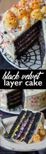 Black Velvet Layer Cake: Classic red velvet cake gets a spooky makeover in this black velvet edition perfect for Halloween!