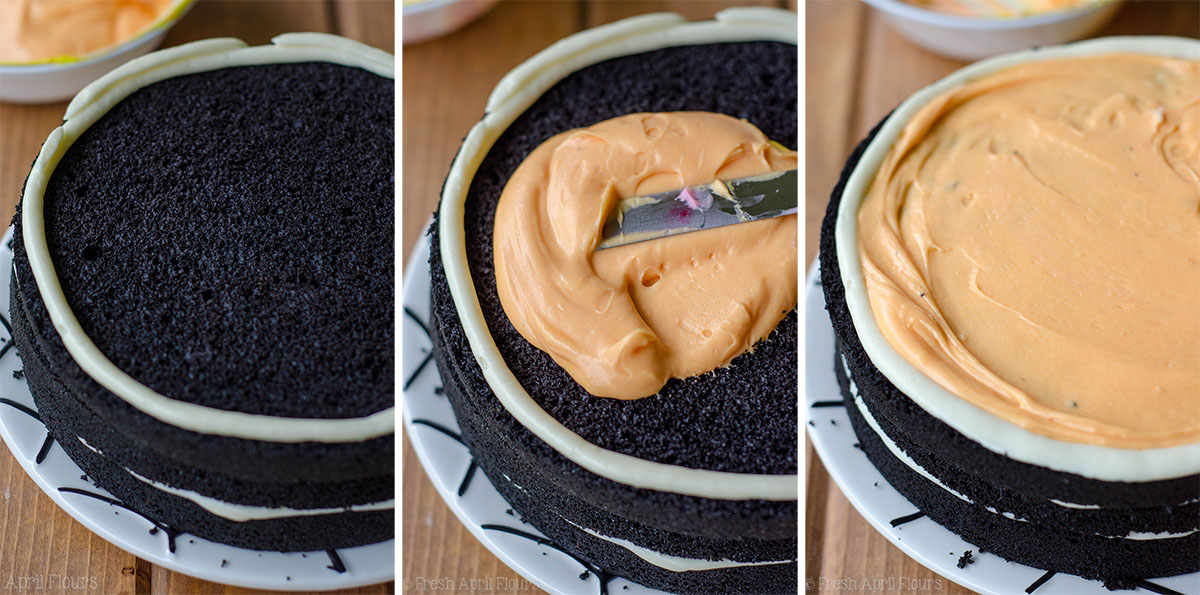 creating layers of black velvet cake filled with orange frosting