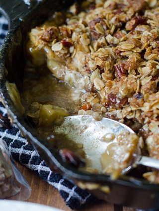 Maple Pecan Goat Cheese Skillet Apple Crisp