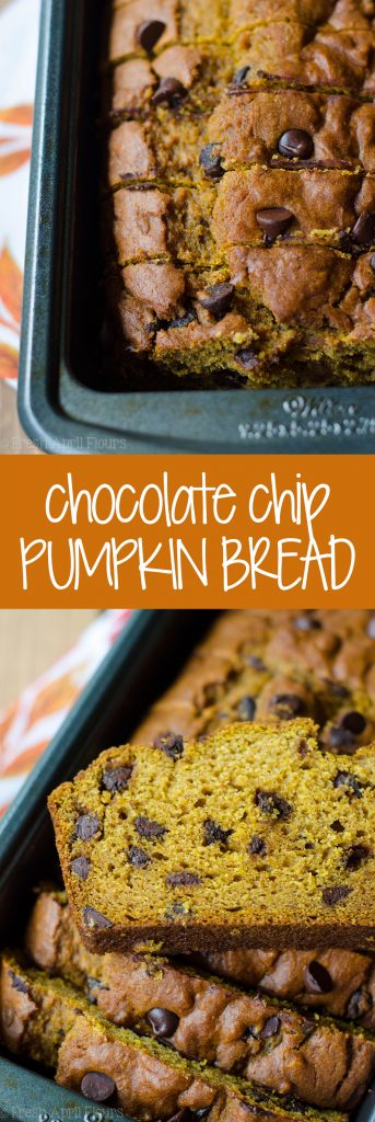 Chocolate Chip Pumpkin Quick Bread: An easy bread spiced with real pumpkin and spices and sweetened with brown sugar and chocolate chips.