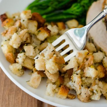 Traditional Bread Stuffing: Loaded with flavorful vegetables and the perfect herbs to complement your dish, this classic stuffing will go great at your Thanksgiving feast.
