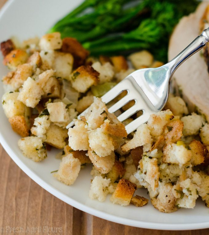 Traditional Bread Stuffing: Loaded with flavorful vegetables and the perfect herbs to complement your dish, this classic bread stuffing will go great at your Thanksgiving feast.