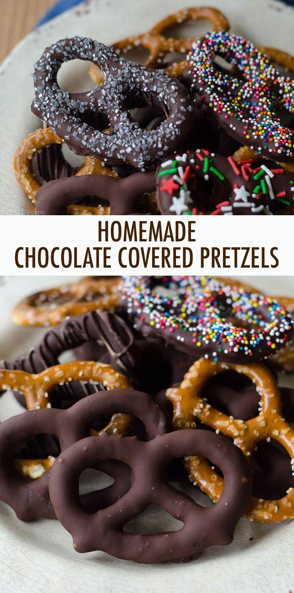 Make your own chocolate covered pretzels at home to stick in cookie trays or simply snack on!