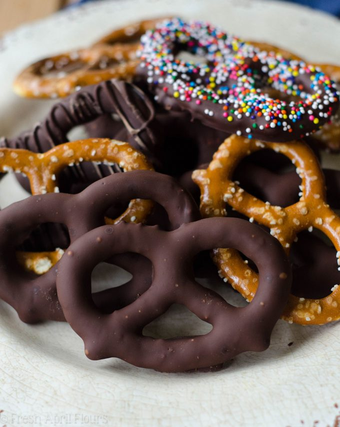 Homemade Chocolate Covered Pretzels: Make your own chocolate covered pretzels at home to stick in cookie trays or simply snack on!
