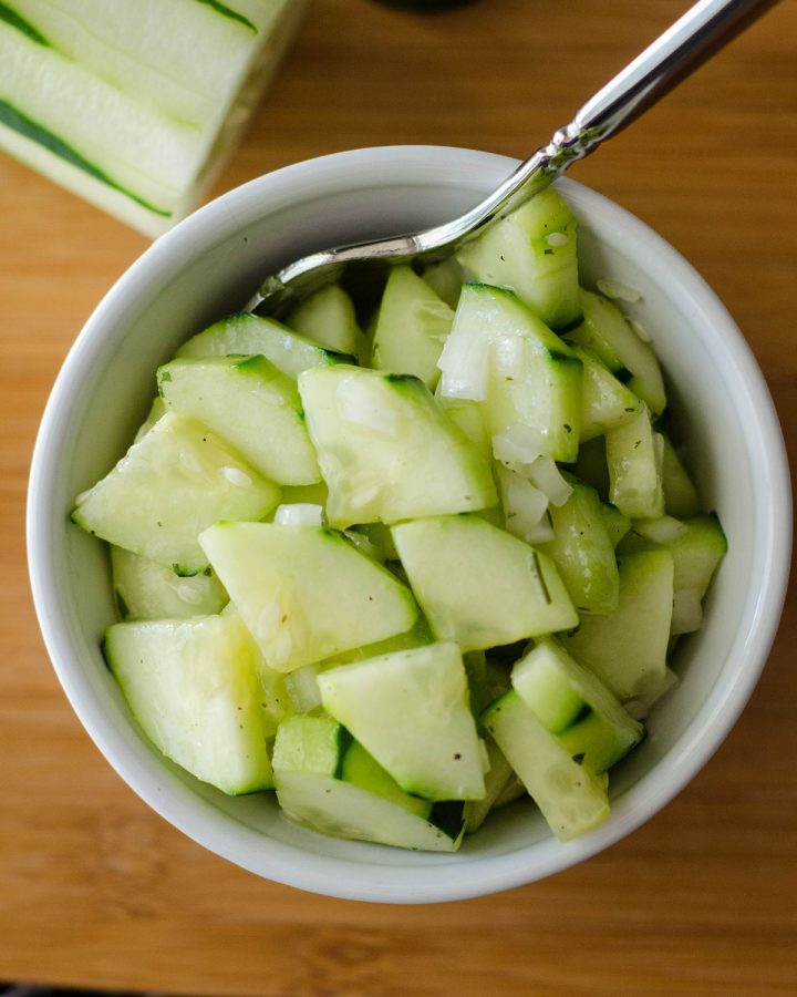 Zesty Cucumber Salad: An easy side dish or dip made with crispy cucumbers, sweet onions, peppy ranch flavors, and tangy rice vinegar. Jazz it up with a jalapeño!