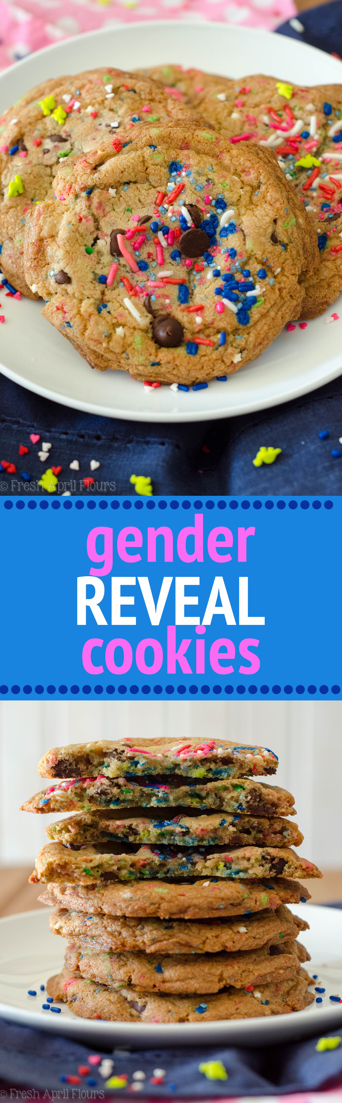Gender Reveal Cookies: Classic chocolate chip cookies baked with a surprise of colored sprinkles inside perfect for revealing the gender of a baby.