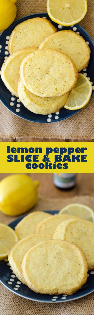 Lemon Pepper Slice & Bake Cookies: Sweet and tart lemon cookies, spiced with a hint of black pepper, and textured with crunchy cornmeal.