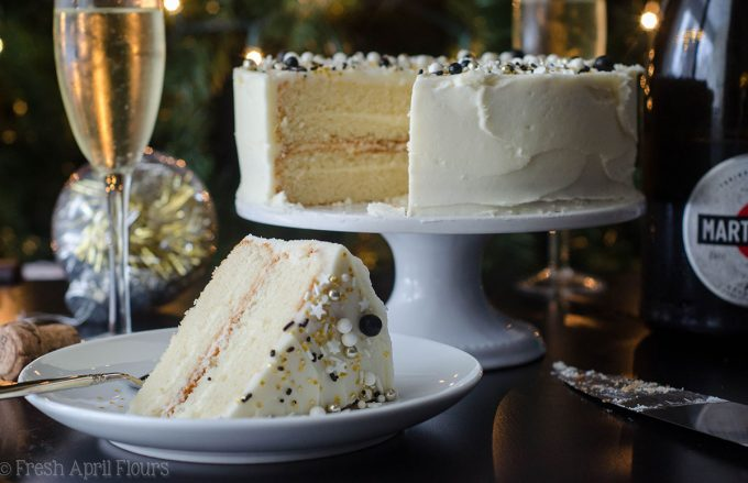 Champagne Layer Cake: Fluffy and moist white cake packed with a punch of real champagne and topped with a spiked buttercream.