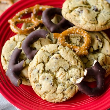 Chocolate Covered Pretzel Cookies: Simple brown sugar cookies filled with sweet and salty chocolate covered pretzels.
