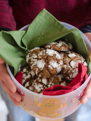 Gingerbread Crinkle Cookies: A crunchy, spicy cookie covered in sweet powdered sugar, perfect for dunking in a glass of eggnog.