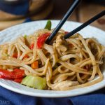 """Instant Pot Chicken & Vegetable Stir Fry: A quick and easy version of """"stir fry,"""" no pan or stovetop required! Sticky and dense noodles, tender chicken, and crunchy vegetables, ready in about 20 minutes!"""