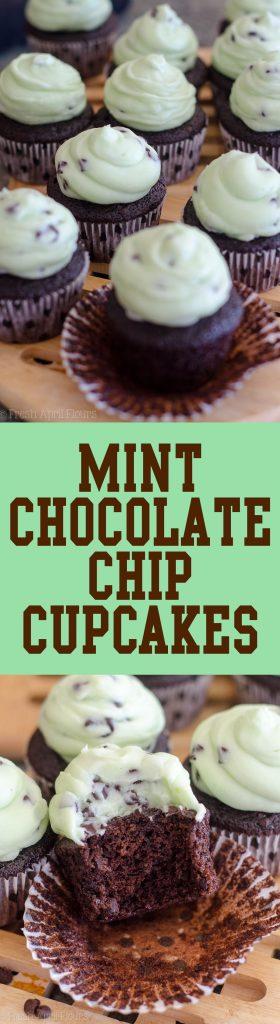Mint Chocolate Chip Cupcakes: Dark chocolate chocolate chip cupcakes topped with creamy mint chocolate chip buttercream.