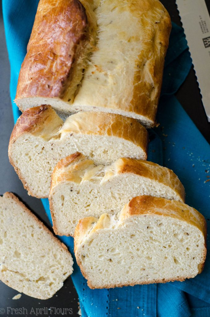 aerial photo of loaf of sliced anise bread
