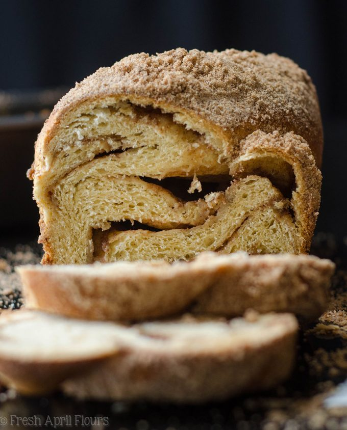 Cinnamon Babka: A simple twisted yeast bread with a cinnamon sugar filling and topped with cinnamon streusel. This loaf of bread tastes like a big cinnamon bun!