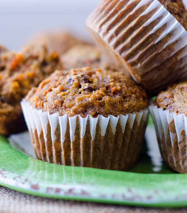 Morning Glory Muffins: Hearty whole wheat muffins packed with fruits, vegetables, nuts, and flaxseed to fill you up at breakfast time.
