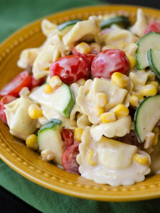 Summer Pasta Salad: A lightly creamy tortellini pasta salad filled with summer's best vegetables.