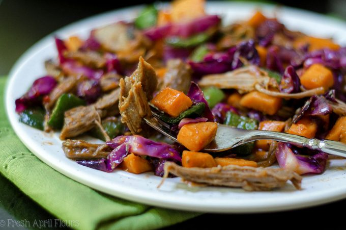 BBQ Brisket Hash: BBQ brisket gets a vegetable overhaul, combined with tender sweet potatoes, crunchy red cabbage, and spicy poblano and jalapeño peppers.