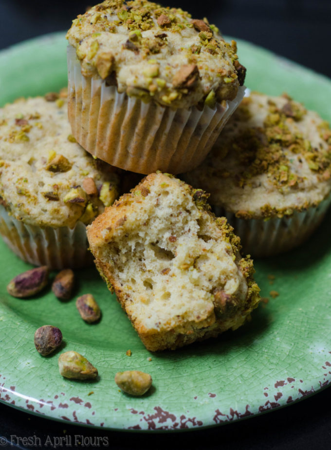 Pistachio Muffins: Moist and tender muffins naturally flavored with finely ground pistachios.