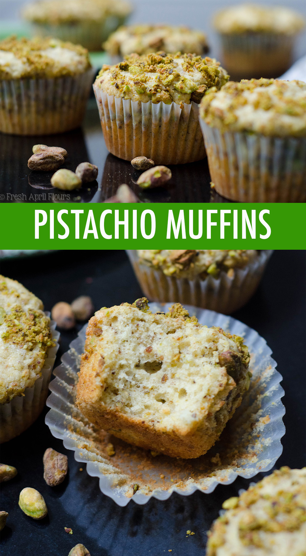 Moist and tender muffins naturally flavored with finely ground pistachios.