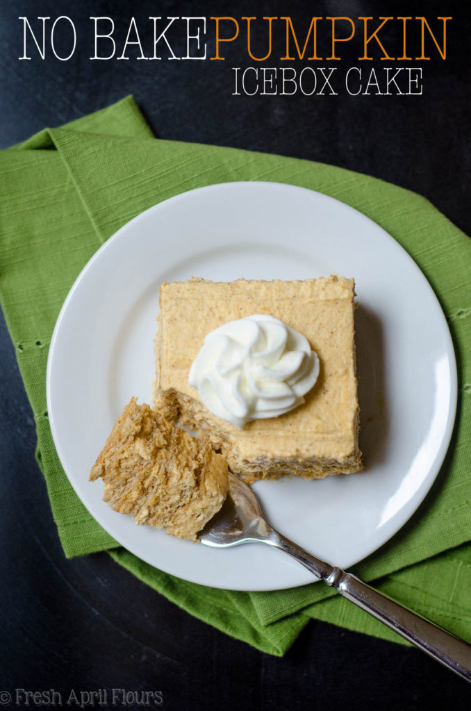 No Bake Pumpkin Icebox Cake: Layers of graham crackers filled with pumpkin whipped cream. An easy no bake treat for your favorite fall gatherings!