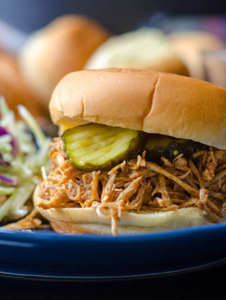 "Nashville Style Shredded Hot Chicken: Bring the flavor of the south into your kitchen with an easy, slow cooker shredded chicken recipe inspired by Nashville's iconic ""hot chicken."""