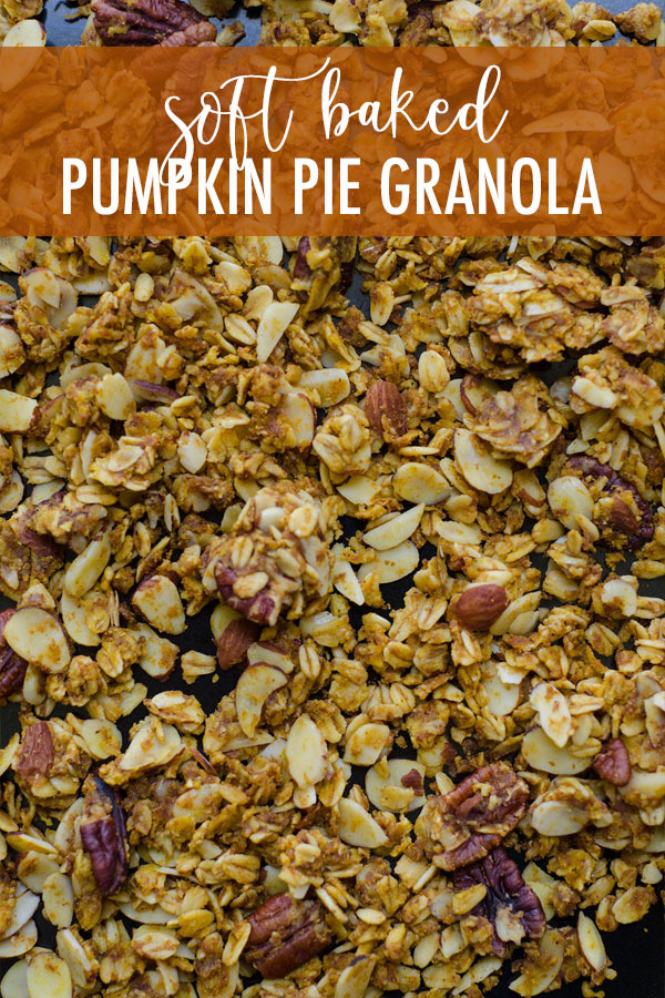 Homemade spiced granola gets a pumpkin flair thanks to real pumpkin, and sweetened with brown sugar and maple syrup. Not your ordinary crunchy granola-- this stuff is soft like pie!