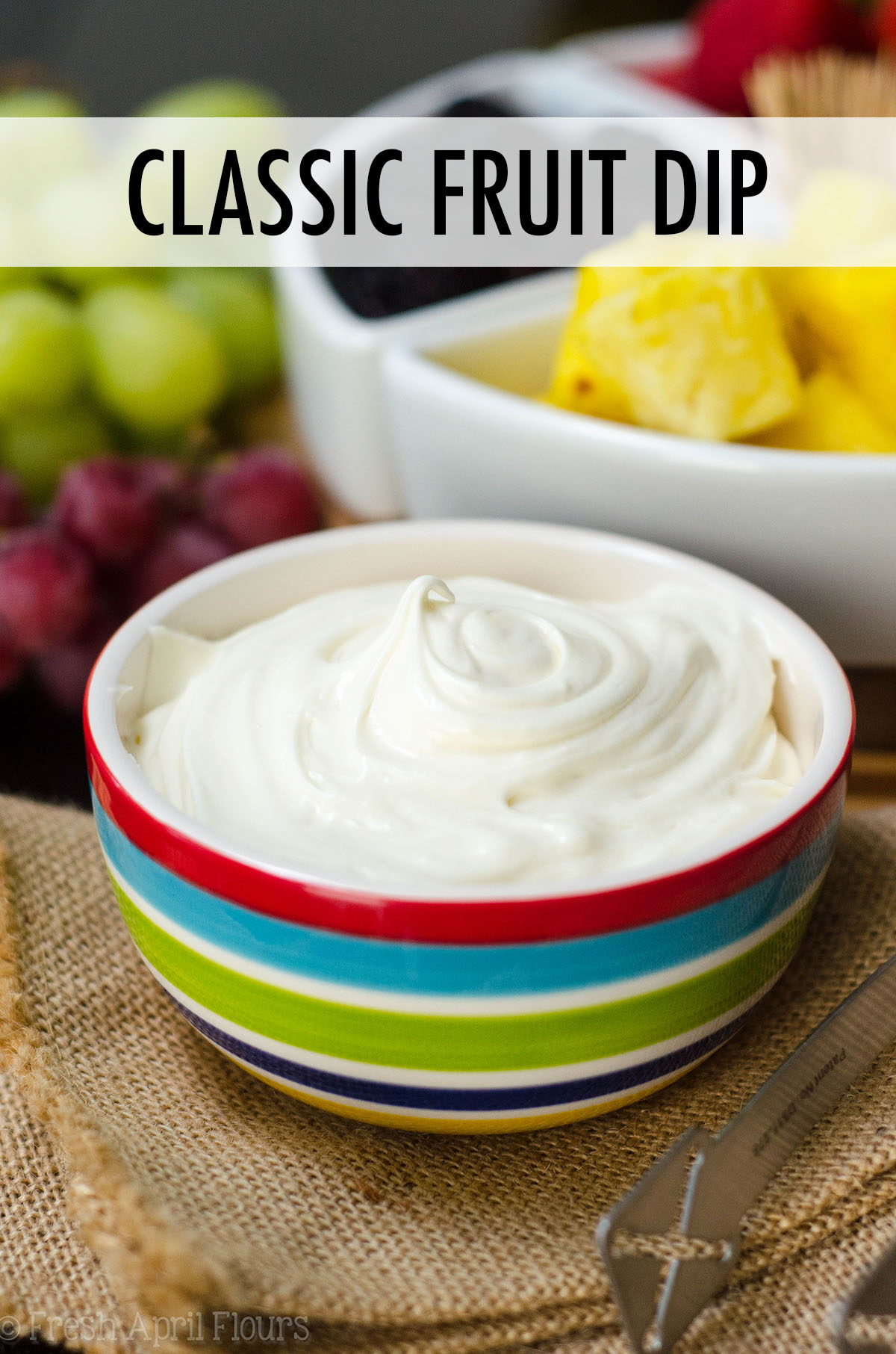 Just two ingredients make the easiest and most delectable fruit dip. Jazz it up with a touch of your favorite extract!