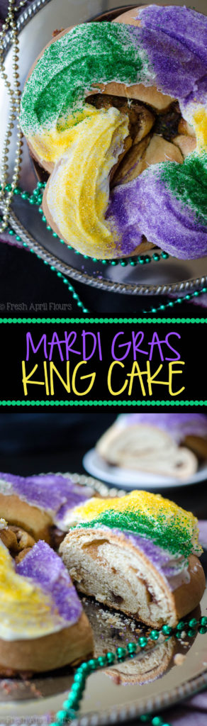 Mardi Gras King Cake: A simple spiced yeast dough is filled with a cinnamon sugar filling, twisted into a ring, and donned with colored sugar.