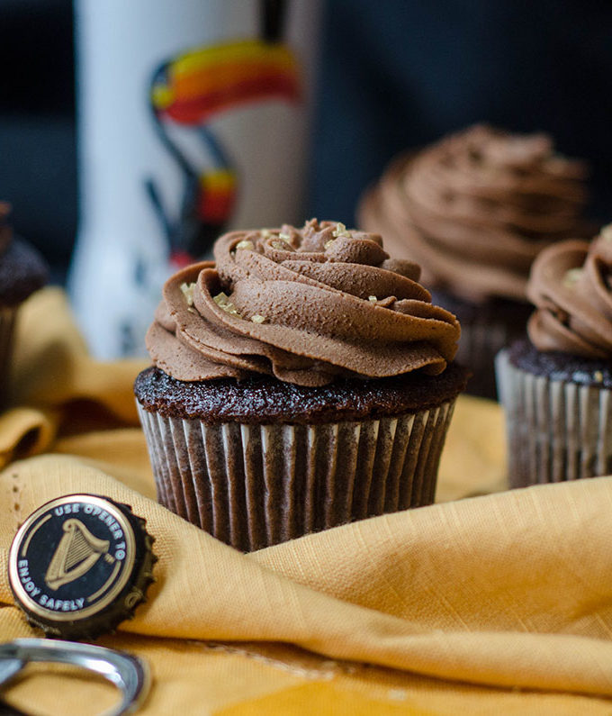Guinness Cupcakes: Dark chocolate cupcakes infused with a chocolate stout reduction and topped with a chocolate stout buttercream. Perfect for your St. Paddy's Day celebration!