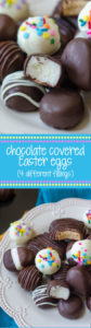 Chocolate Covered Easter Eggs: Making your own buttercream eggs from scratch is MUCH easier than you think it is. Classic vanilla, funfetti, coconut cream, and peanut butter eggs or rounds dipped in chocolate are just what your Easter needs!