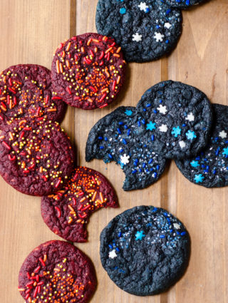 Ice & Fire (Game of Thrones) Cookies: Easy red and blue velvet cookies donned with icy and firey sprinkles.