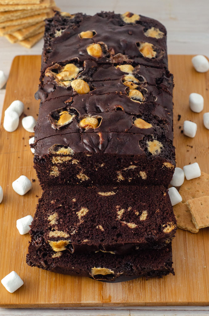 S'mores Quick Bread: Decadent chocolate quick bread swirling with graham cracker chunks and mini marshmallows.
