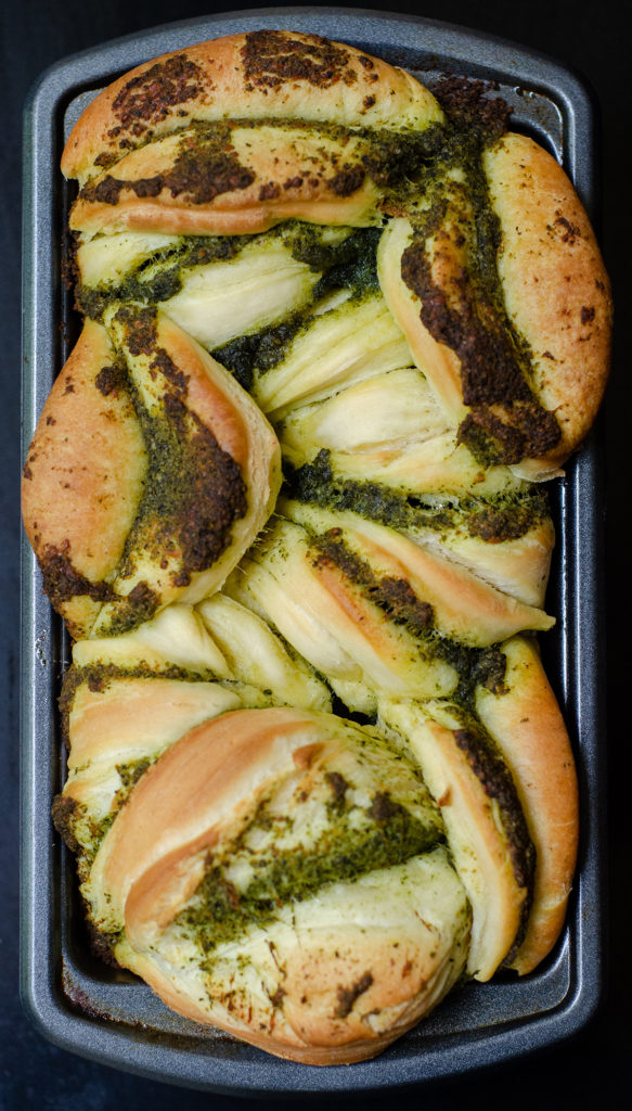 Pull-Apart Pesto Bread: Soft and fluffy pull-apart bread filled with zesty, herbed pesto.