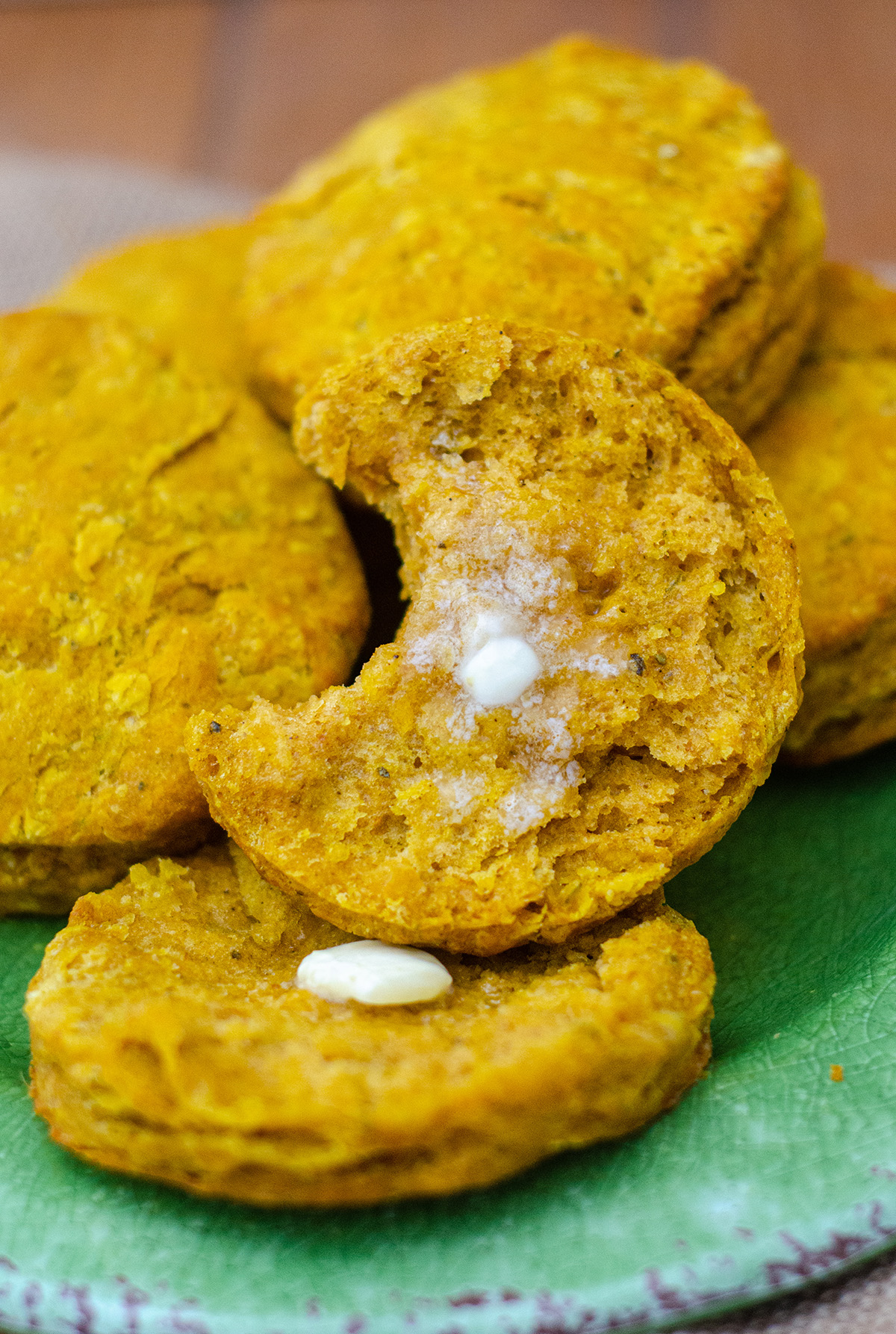 Flaky, buttery biscuits made with real pumpkin and spiced with sage, thyme, and ginger.