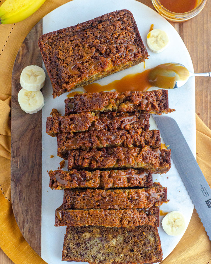 Salted Caramel Banana Bread: Classic banana bread gets swirled with salted bourbon caramel sauce for a jazzy take on the original.