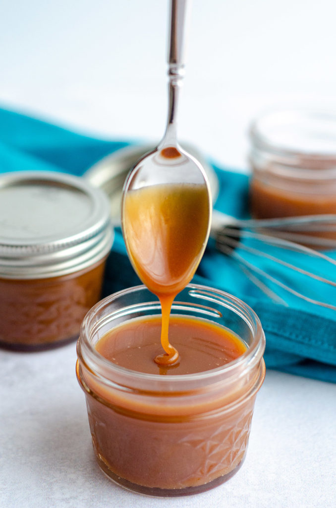 Bourbon Salted Caramel Sauce: Learn to make your own salted caramel sauce at home. Add no bourbon or a lot of bourbon to make it something special!
