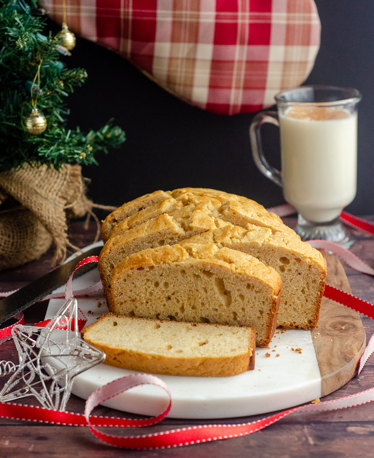 A spiced bread made with actual eggnog for maximum flavor and moisture.