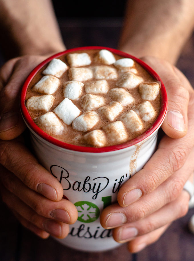 cup of hot chocolate with marshmallows on topHomemade Hot Cocoa Mix: Ditch the store-bought and make your own hot cocoa mix to keep in your pantry. It's also perfect for gifting as a homemade holiday gift.