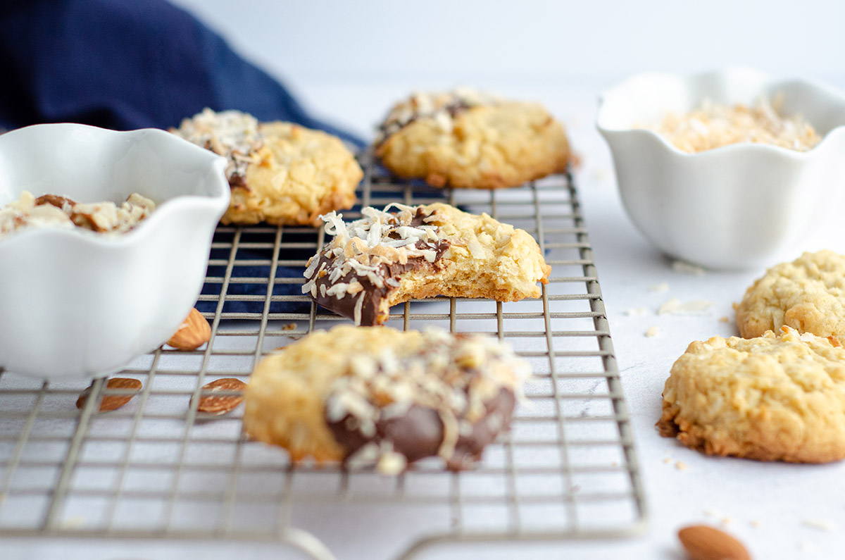 coconut almond cookies on a cooling rack