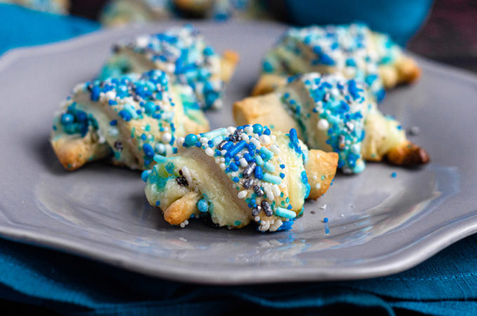 Funfetti Rugelach: Basic rugelach filled with a sweetened cream cheese filling and plenty of sprinkles inside and out.