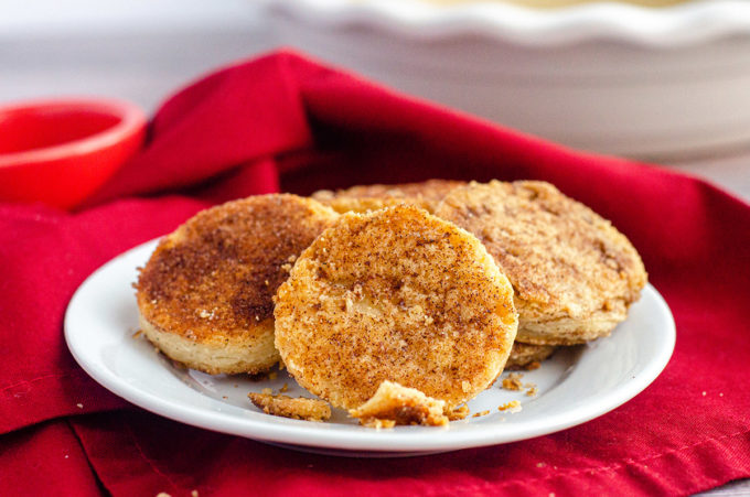 pie crust cookies on a plate with a red napkin
