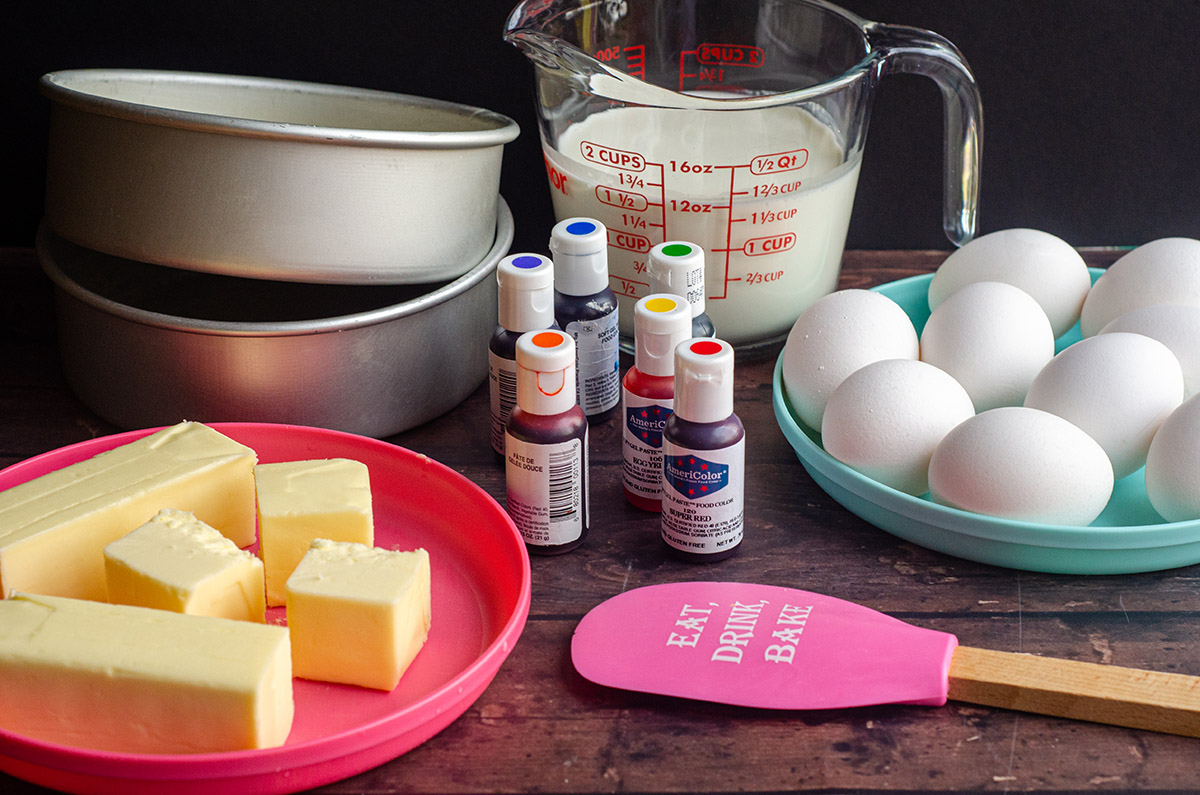 mise en place for making a rainbow cake