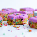 Sugar Cookie Bars: Soft and buttery sugar cookies in easy-to-serve bar form. Top with a colorful buttercream and rainbow sprinkles for an extra pop of color!