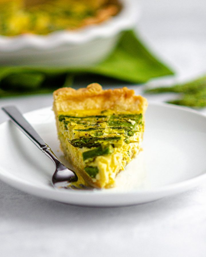 Asparagus Quiche: A simple egg quiche loaded up with asparagus and cheese. Pair with my favorite homemade pie crust or go crustless!